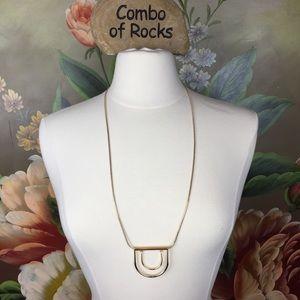 Trina Turk Swinging U Pendant Gold Toned Necklace
